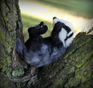 Needle felted badger (10)