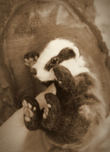 Needle felted badger (2)