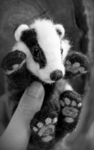 Needle felted badger (3)