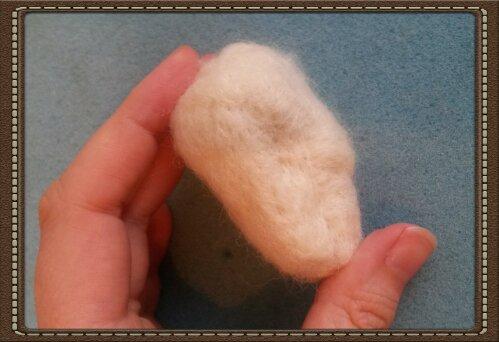 How to needle felt a badger head; photo tutorial (3/6)