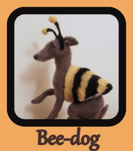 Felted bee dog